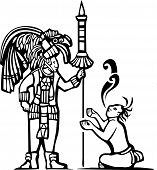 image of mayan  - Traditional Black and White Mayan Mural image of a Mayan Warrior and a captive with speech scrolls - JPG