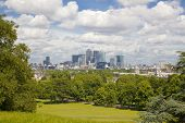 LONDON, UK - June 17, 2014: Canary wharf business and banking aria view from the hill
