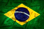 Brasil Grunge Flag On A Silk Drape Waving
