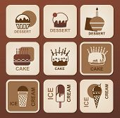 image of ice-cake  - Collection of stylized monochrome silhouettes desserts  - JPG