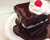 picture of chocolate fudge  - delicious fudge cake with ice cream - JPG