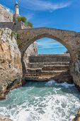Stone bridge in Castro Urdiales, Cantabria, Spain