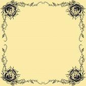 Roses Frame Oldskool Tattoo Style Design