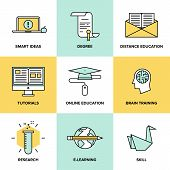 picture of online education  - Flat line icons set of online education brain training games internet tutorials smart ideas and thinking electronic learning process studying new skills - JPG