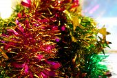 New Year Decoration With Pink, Green And Yellow