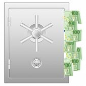 Bank Safe With One Hundred Euro Banknotes