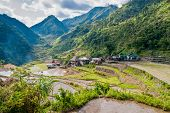 stock photo of luzon  - overlooking the rice-terraces and village of Banga-An Luzon Philippines
