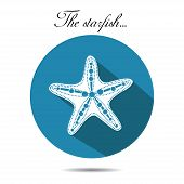 Vector starfish icon. On the white background.