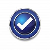 Tick Mark Circular Blue Vector Web Button Icon