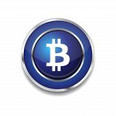 Bit Coin Circular Blue Vector Web Button Icon