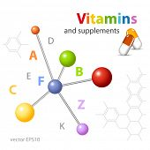 Vitamin supplements - molecular structure - medical technology