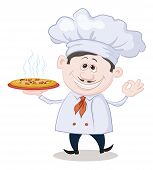 Cook holds a hot pizza