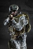 foto of soldier  - American Soldier with mask rifle and backpack - JPG