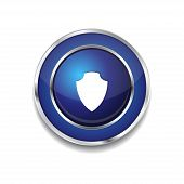 Shield Circular Vector Blue Web Icon Button