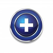 Plus Circular Vector Blue Web Icon Button