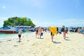 Tourists On The Beach Of Krabi Province,thailand