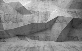 stock photo of surrealism  - Abstract dark concrete 3d interior with polygonal pattern on the wall - JPG