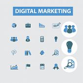 digital marketing, internet marketing icons, signs set, vector