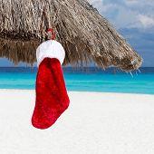 Christmas Sock On Sun Umbrella At Caribbean Beach
