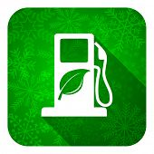 biofuel flat icon, christmas button, bio fuel sign