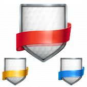 Set of Bright shield in the golf ball inside with ribbons. Vector.