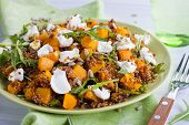 pic of quinoa  - Close up of a plate full of quinoa salad with feta cheese and pumpkin - JPG