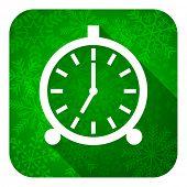 alarm flat icon, christmas button, alarm clock sign