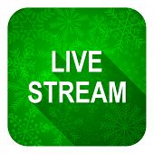 live stream flat icon, christmas button
