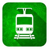 train flat icon, christmas button, public transport sign