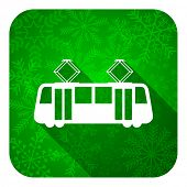 tram flat icon, christmas button, public transport sign