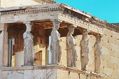 Porch Of The Caryatids In Erechtheum, Athens