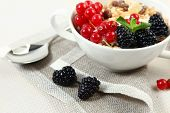 healthy breakfast with corn flakes and berries