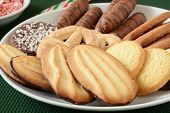 image of shortbread  - Gourmet chocolate dipped shortbread Christmas cookies and chocolates - JPG