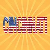 Cincinnati flag text with sunburst illustration