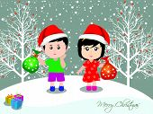 Merry christmas with happy kids