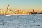Vasilievsky Island And Kunstkammer Winter Morning In St. Petersburg
