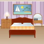 pic of wardrobe  - Bed room interior house apartment with furniture wardrobe decor poster vector illustration - JPG
