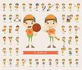 Set Of Boy Character Collection