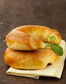 homemade pastries, sweet buns rolls with sugar