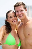 beautiful young couple in swimwear