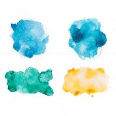 Abstract watercolor aquarelle hand drawn colorful shapes art paint splatter stain on white backgroun