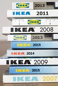 Warsaw, Poland - November 30, 2014: Collection of IKEA Catalogs in Warsaw, Poland. Ikea is the world's largest furniture retailer, founded in Sweden