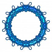 Round blue frame, Circular ornament design element, Vector
