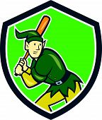 image of hitter  - Illustration of an elf baseball player batter hitter batting with bat done in cartoon style set inside shield crest on isolated background - JPG
