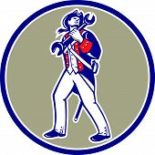 American Patriot Holding Wrench Marching Retro