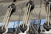 Catseyes And Ropes On Sailing Ship