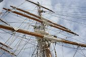 image of sparring  - Mast with spars and rigging on sailing ship in Bristol Harbour Avon England - JPG
