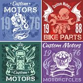 Set of vintage motorcycle labels. Vector stpck illustration.