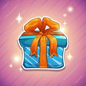 Blue gift box with orange bow.