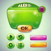 Set of green glossy information panel and buttons